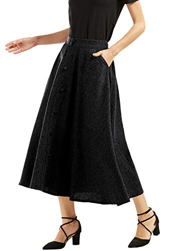 - chouyatou Woman's Vintage High Waist Front Button Long Skirt with Pockets (XX-Large, Charcoal)