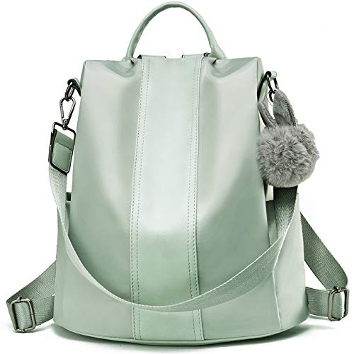 84e80699efb9 Charmore Women Backpack Purse Waterproof Nylon Schoolbags Anti-theft  Rucksack Shoulder Bags (Mint Green