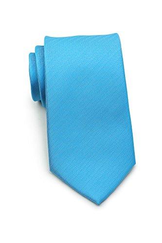 - Bows-N-Ties Men's Necktie Solid Color Herringbone Matte Microfiber Tie 3.1 Inches (Cyan Blue)