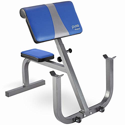 Pure Fitness Preacher Curl Weight Bench with Wheels