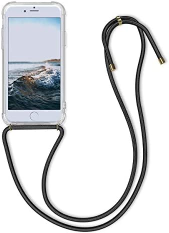 8 Plus kwmobile Crossbody Case Compatible with Apple iPhone 7 Plus Transparent//Black Clear Transparent TPU Cell Phone Cover with Neck Cord Lanyard Strap