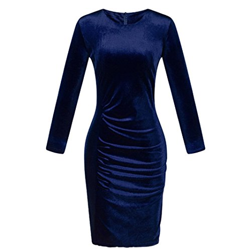 Tiean Dress, Velvet Long Sleeve O-Neck Soild Dress for Womens Girls (L, Blue)