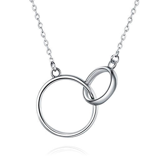Billie Bijoux 925 Sterling Silver Infinity Double Heart Necklace Endlessness Love Platinum Plated Diamond Pendant Gift for Women Mother's Day (Infinity Circles) Circle Of Love Pendant Necklace