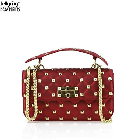 08cff1f2fc92 SLB Works Jellyooy Beachkins New Fashion Matte Jelly Bag PVC Chic Ins Girl  Transparent Candy Bag Rivet Plaid Chains Messenger Bags Color Burgundy Size  21.5 ...