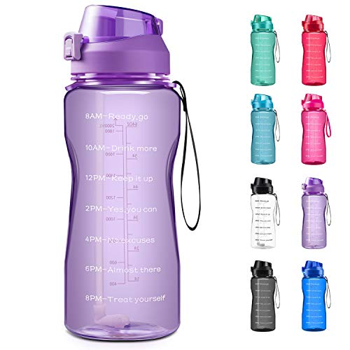 4AMinLA Motivational Water Bottle 2.2L/64oz Half Gallon Jug with Straw and Time Marker Large Capacity Leakproof BPA Free Fitness Sports Water Bottle (Purple, 64oz)
