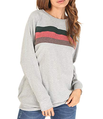 Women's Striped Sweatshirt Long Sleeve Loose Casual Crewneck Tunic Tops Light Grey XL ()