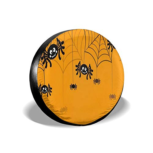 YIXKC Spare Tire Cover Halloween Seamless Pattern Spider Web 15 Inch Waterproof Universal Spare Wheel Tire Cover Fit for Jeep, Trailer, RV, SUV and Many Vehicle