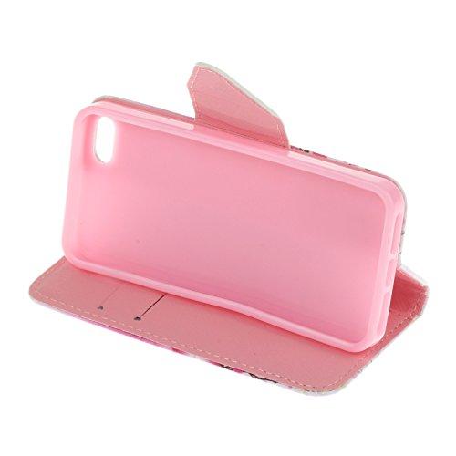 Ecoway Para iPhone 5/iPhone SE Funda, Serie pintada Caja del teléfono de moda (Floral) PU Leather Cubierta , Función de Soporte Billetera con Tapa para Tarjetas Soporte para Teléfono Compatible iPhone Pareja Bear