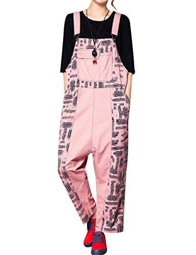 (のグレープフルーツ プラム)春と秋 レディース ビッグコード オールインワン オーバーオール ジーンズ 印刷 ルーズ シャンパンズボン カジュアルなズボン