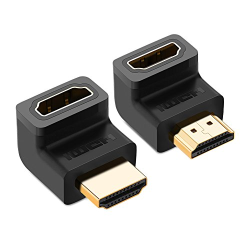 UGREEN HDMI 90 And 270 Degree Right Angle Adapter Gold Plated High Speed HDMI Male to Female Connector Adapter for Roku TV Stick (pack of 2) ()