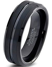 Tungsten Wedding Band Ring 6mm for Men Women Comfort Fit Black Enamel Beveled Edge Polished Brushed Lifetime Guarantee
