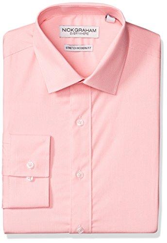 Nick Graham Everywhere Men's Modern Fitted Micro Pin Dot Print Stretch Dress Shirt, Pink, M-R 32/33 (Pin Dot Formal)