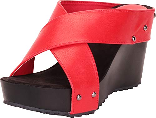 Cambridge Select Women's Open Toe Crisscross Chunky Platform Wedge Slide Sandal,11 B(M) US,Red PU