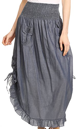 Sakkas 3118 - Coco Long Cotton Ruffle Skirt with Pockets and Elastic Waistband - Chambray - One Size Regular ()