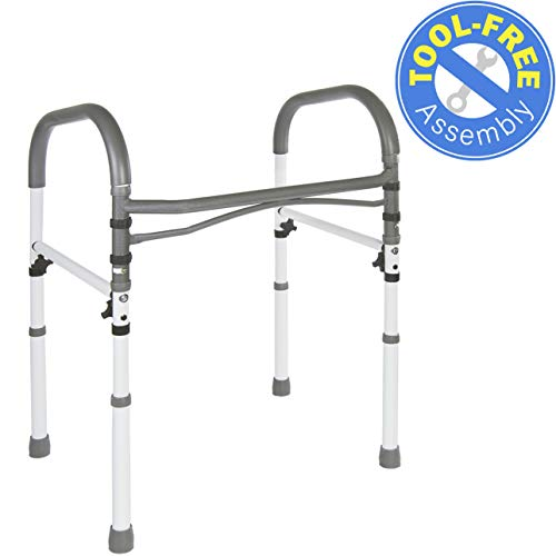 (Vaunn Deluxe Bathroom Safety Toilet Rail - Adjustable Toilet Safety Frame - Medical Handrail Assist Grab bar Handle)