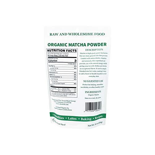Cherie Sweet Heart Matcha Green Tea Powder - USDA Organic, Smoothies, Lattes, Baking, Recipes - Antioxidant, Energy - 1 lb