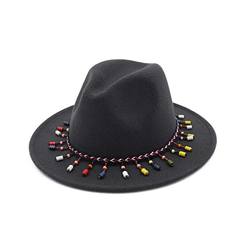 Winter Autumn Women Ladies Tassel Cowboy hat Top Jazz Hat Fashion Bowler Hats Hard Cotton Round Sombrero Cap Dark Gray ()