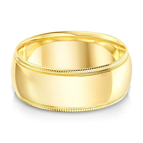 Ioka - 14k Solid Yellow Gold 8mm Comfort Fit Milgrain Traditional Wedding Band Ring - size 10
