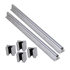 Industrial Combination,Ideaker Silver Open Roller Bearing Slide Block & L 400mm SBR12 Linear Bearing Rail Guide with 12mm Dia Shaft for CNC Machine Set of 6 by Ideaker