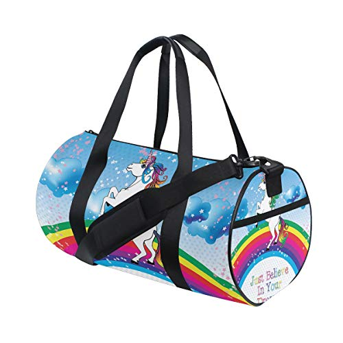 Unicorn Rainbow Horse Sports Duffle Bag Gym Bag Travel Duffel with Adjustable Strap, Just Believe In Your Dreams Backpack Weekend Bag Luggage Tote for men women