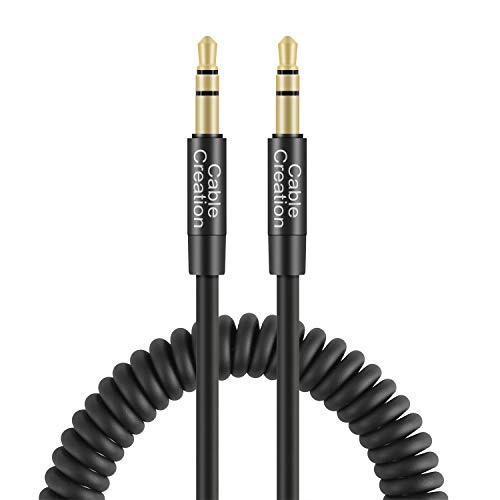 - CableCreation 1~4 Ft Coiled 3.5mm Audio Cable, 3.5mm Aux Cable Compatible with iPhones, iPads, Samsung and Other 3.5mm DC Plug Port Device, Black