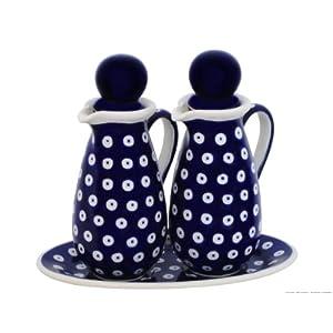 Polish Pottery Boleslawiec Salad Oil & Vinegar Set in TADPOLE pattern