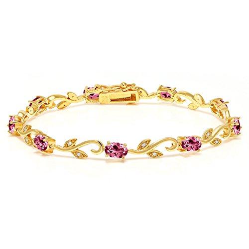 18K Yellow Gold Plated Silver Diamond Greek Vine 7 Inch Bracelet Set with Pink Topaz from Swarovski