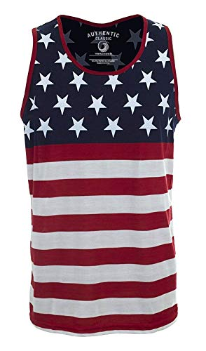 VBRANDED Men's American Flag Tank Top Shirt Small US Flag Red (Best Beaches In America To Visit)