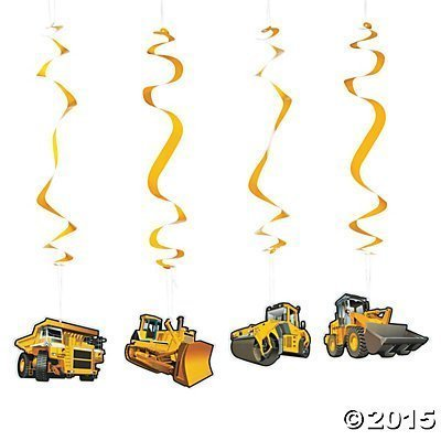 Construction Party Hanging Swirl Decorations product image