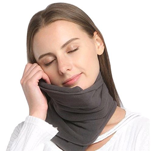 Travel Pillow Scientifically Proven Super Soft Neck Support Machine Washable Very Easy Attachable to Luggage Comfortable Compact Lightweight Neck Pillow Scarf Grey Color Best for Plane Bus Car (Soft Neck Pillow)