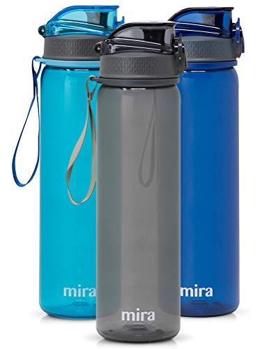 MIRA 25 oz Reusable Tritan Water Bottle | BPA-Free Plastic Sports Water Bottle | Leak Proof Locking Flip Top Lid with Easy Flow Spout | Gray ()