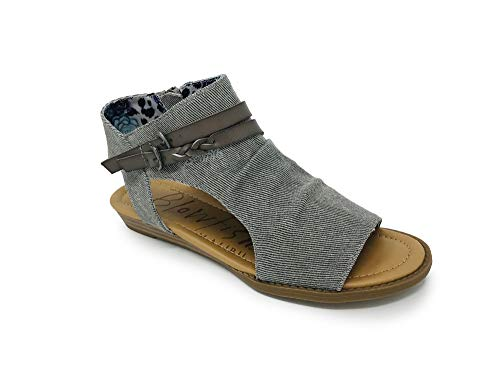 Blowfish Malibu Womens Blumoon Sandals, Grey Smokey Twill/Steel Grey Faux Leather Strap, 8.5