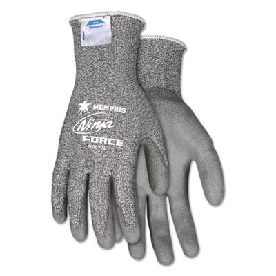 Ninja Force Polyurethane Coated Gloves, Small, Gray, Pair, Sold as 1 Pair, 2 per Pair