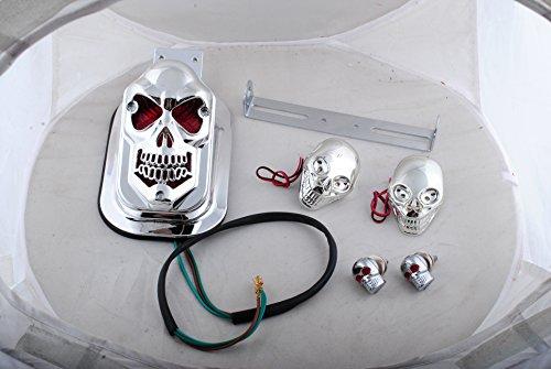 Femitu Chrome Motorcycle Skull Integrated Brake Stop Tail Turn Signal Blinker Indicator Light For Harley Sportster Dyna Glide Custom Bobber Chopper Cruiser