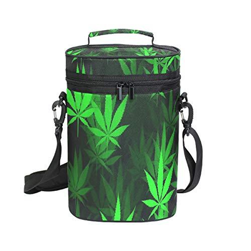 Wine Bag Black Green Marijuana Leaf 2 Red Wine Travel Bag Insulated Wine Tote Carrier Cooler Bags with Handle and Adjustable Shoulder Strap
