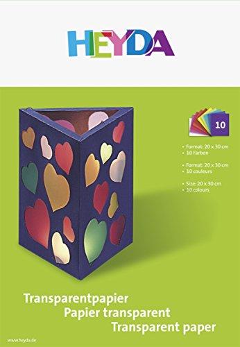 Heyda 204875406 Transparent-Bastelpapier (Bastelmappe, Transparentpapier, 20 cm x 30 cm, 10 Farben)