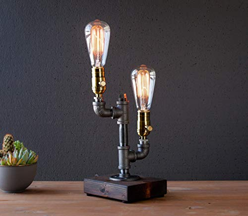 Dimming Industrial Steampunk table pipe lamp with Classic Edison bulb and Weathered wood base