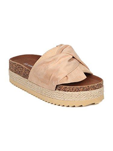 Faux Suede Flatform Sandal - Platform Slide - Bow Tie Slipper - Espadrille Footbed Sandal - Gaby-60 By Beige Faux Suede (Size: 7.0) (Faux Suede Sandals)