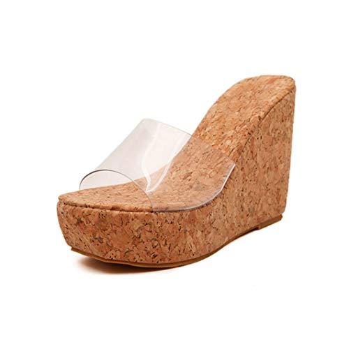 Women's Wedge Clear Wooden Platform High Heel Fashion Sandals Female Peep Toe Summer Fashion Shoes Beige