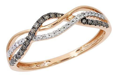 - Twisted Half Eternity Anniversary Ring With Round Natural Brown & Rose Diamond, 10k Rose Gold, Size 8