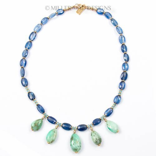 Chrysoprase Drop Necklace with Kyanite and Apatite - 16 inches Long Handmade Necklace by Miller Mae Designs