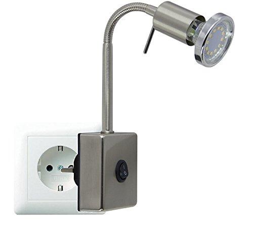 Trango LED-stekkerlamp nachtlampje in roestvrij stalen look TG2607 incl. 1x 3000K warm wit LED lamp & ON/OFF schakelaar…