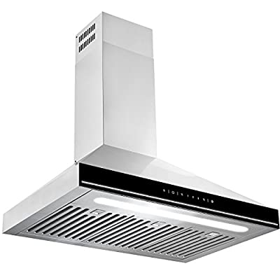"Golden Vantage 30"" Stainless Steel Wall Mount Black Surface LED Light Strip Lamp Touch Control Kitchen Cooking Fan Range Hood"