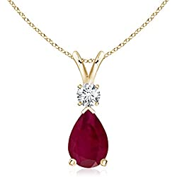 July Birthstone - Pear Ruby Teardrop Pendant Necklace for Women with Diamond