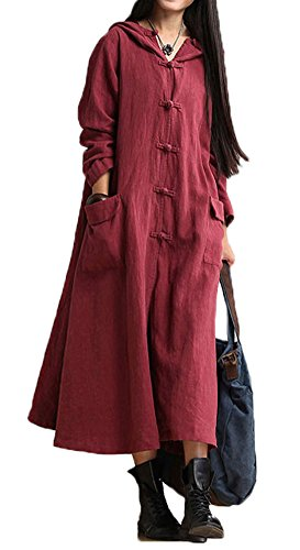 Plaid&Plain Women's Casual Linen Cotton Frog Button Hooded Long Trench Coat Red