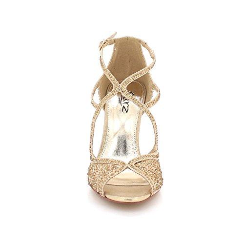 AARZ LONDON Women Ladies Diamante Evening Wedding Party Prom Bridal Peeptoe High Heel Sandals Shoes Size Gold. cTwpZ