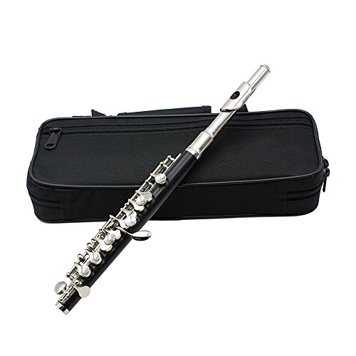Andoer Piccolo Ottavino Half-size Flute Cupronickel Silver Plated C Key Tone with Cork Grease Polish Cloth Cleaning Stick Padded Box Case Screwdriver Silver by Andoer