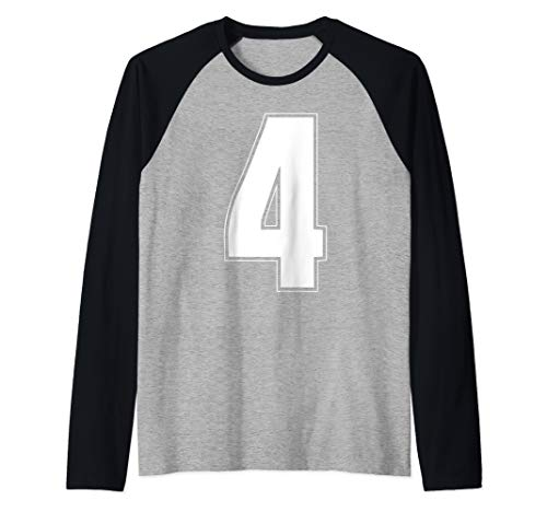 Halloween Group Costume #4 Sports Jersey Number 4 4th Bday Raglan Baseball Tee]()