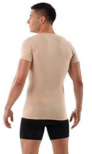 ALBERT KREUZ Shape-Herrenunterhemd unsichtbar Business V-Unterhemd Bauchweg-Kompressions-Shirt Kurzarm Hautfarbe Nude