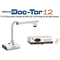Elmo 1331-221 Classroom Doc-Tor TT-12 Document Camera and CRP-221 Projector Bundle System, Powerful 96x Zoom (12x Optical zoom x 8x Digital zoom), 3.4-Megapixel CMOS Image Sensor
